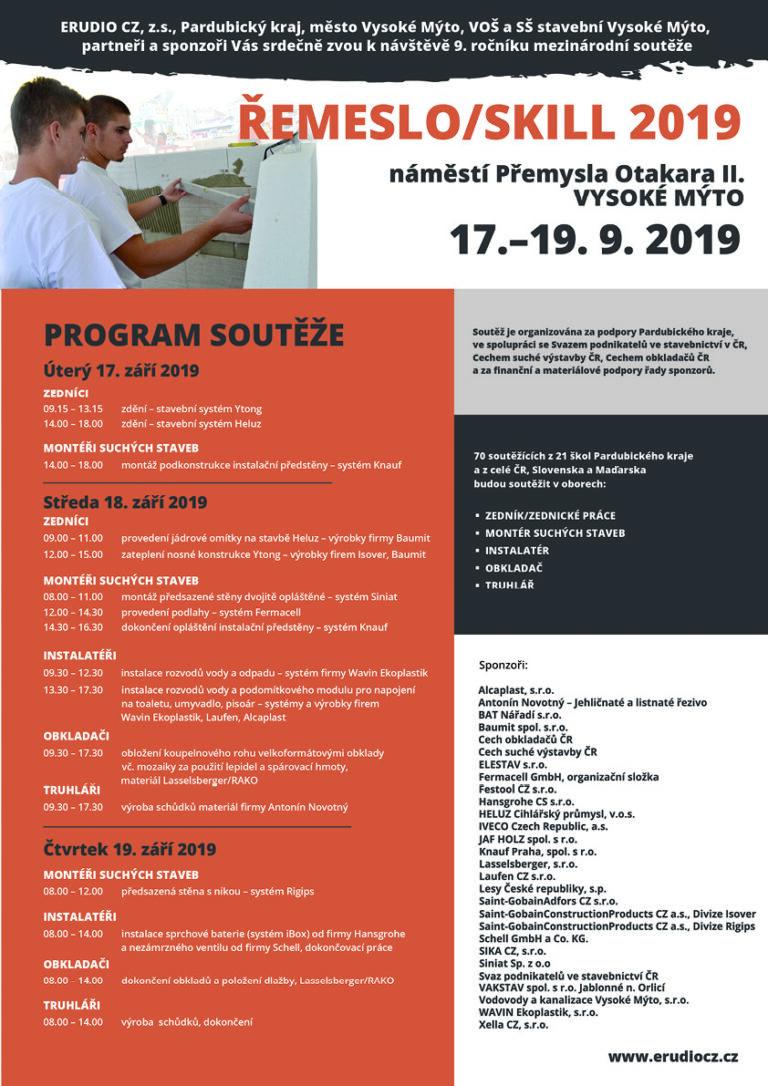 ŘEMESLO / SKILL 2019 Mezinárodní soutěž učňů v řemeslných dovednostech